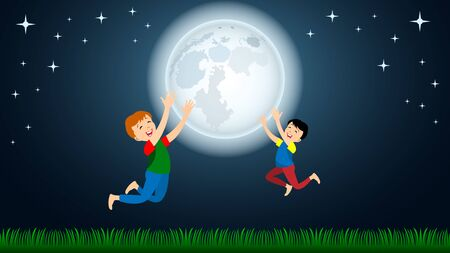 Children, two boys enjoy the huge full Moon on green grass against the night starry sky. Cartoon flat style vector illustration