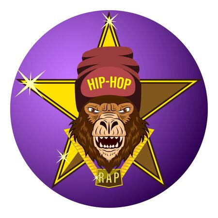 Monkey, Gorilla Star of Hip-Hop Music. Hip hop rapper gorilla head in hat. Image for printing on t-shirt. Bandit monkey with gold chain. Sticker, album cover. Vector Illustration