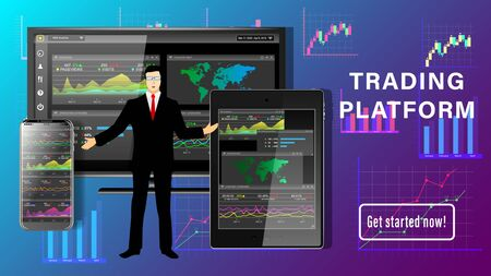 Trading platform. Financial business dashboard desktop. Application for financial analysis on PC, tablet pc, smartphone. A man in a business suit, graphs and charts. Realistic 3d detailed vector.