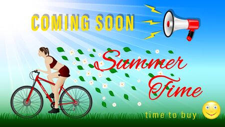 Coming soon Summer time. Woman practicing on a bike under a megaphone, side view. Outdoor, Sunny weather, green grass, flying leaves and flowers. Sport and recreation. Realistic Vector Illustration