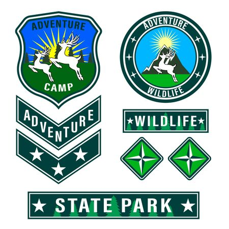 Set of mountain travel, tourism, hiking patches. Forest camping outdoor adventure emblems, labels badges, logo. Deer with antlers in jump side view. Vector Illustration