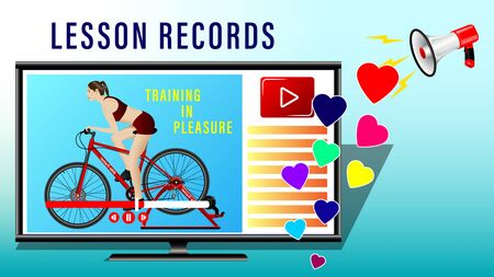 Lesson records trainings. A woman doing a workout on a bike-trainer in the monitor screen, side view, profile. Sport and recreation. Landing page concept. Realistic vector Illustration Иллюстрация