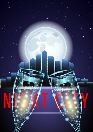Night in the City. Two glass of wine with skyscrapers in the background. Huge full moon and starry sky. Beautiful urban landscape vector Illustration