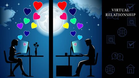 Virtual Relationship. Man and woman sitting at computers and communicate on the background of the huge full moon. Flying hearts of love. Side view, profile. Vector Illustration