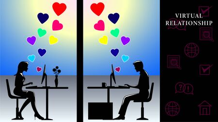 Virtual Relationship. Man and woman sitting at computers and communicate on the background of the sun. Flying hearts of love. Side view, profile. Vector Illustration