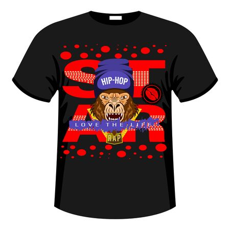 Monkey, Gorilla Star Print Shirt, Slogan. Hip hop music rapper gorilla head in hat. Bandit monkey with gold chain. Colorfull Vector Illustration