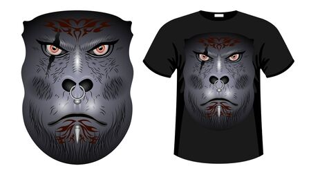A formidable face Gray Gorilla, orc  warrior face with tattoos, scars and piercingsin.  Print t-shirt  and apparel design vector illustration Иллюстрация