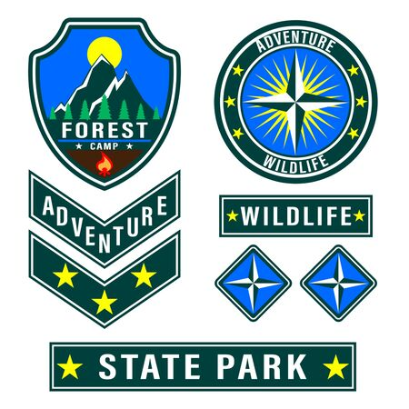 Set of mountain travel, tourism, hiking patches. Forest camping outdoor adventure emblems, labels badges, logo. Vector Illustration