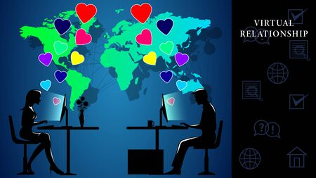 Virtual Relationship. Man and woman sitting at computers and communicate with each other on the background of the world map. Flying hearts of love. Side view, profile. Vector Illustration