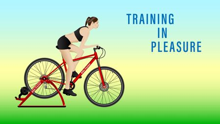 Woman practicing on a stationary bike, Bike-Trainer on gradient background, side view. Sport and recreation.  Landing page concept. Realistic Vector Illustration Иллюстрация