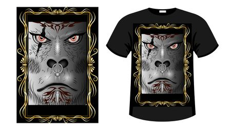 A formidable face Gray Gorilla, orc  warrior face with tattoos, scars and piercingsin decorative gold frame.  Print t-shirt  and apparel design vector illustration Иллюстрация