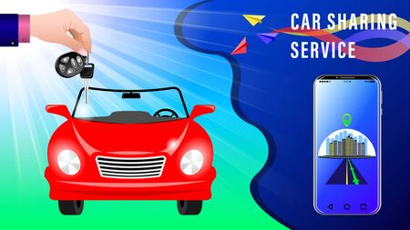 Car Sharing Service. Hand delivers keys with electronic keychain. Red convertible under the sunlight, front view. Smartphone showing the route. Colorful paper airplanes.