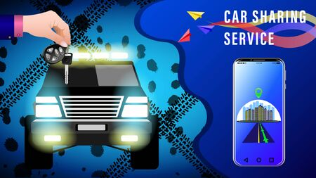 Car Sharing Service. Hand delivers keys with electronic keychain. SUV with headlights on against the background of traces of dirt from the wheels, front view. Smartphone showing the route. Ilustrace