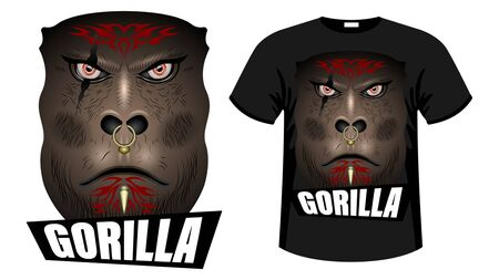 A formidable face Brown Gorilla, orc  warrior face with tattoos, scars and piercingsin with inscription.  Print t-shirt  and apparel design vector illustration