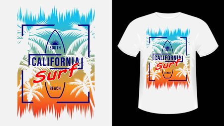 California Surf print t-shirt. The slogan on the backdrop of palm trees and sunset. Beautiful vector illustration