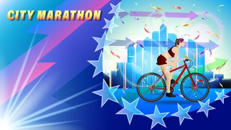 City Bicycle marathon. A woman riding a bike through the city with skyscrapers, side view. beautiful realistic 3D vector illustration Illustration