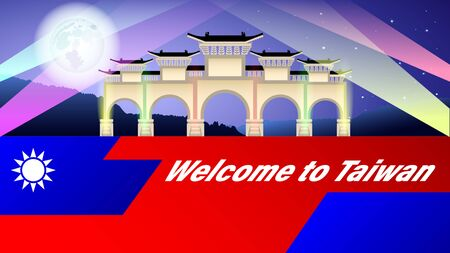 Welcome to Taiwan. Arch illuminated by multicolored spotlights at night under the full moon. Stylized flag of Taiwan. Tourist banner, vector, illustration