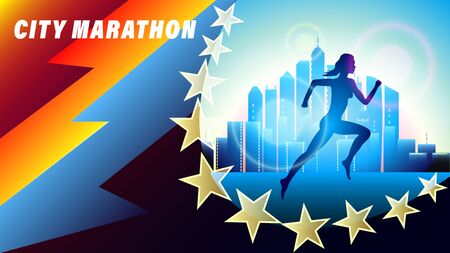City Marathon banner, poster. Silhouette of a running woman against a city of skyscrapers. abstract geometric background. Realistic 3d vector illustration  イラスト・ベクター素材