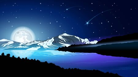 High mountains and calm river water landscape with forest slopes and snowy peaks. Huge full moon against the starry sky. Beautiful landscape vector  illustration