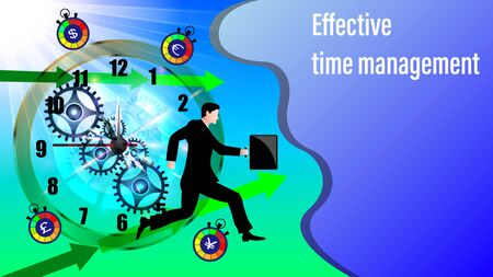 Effective time management banner. Clockwork, direction arrows. Running businessman in a business suit and with a briefcase in the sunlight. Vector Illustration