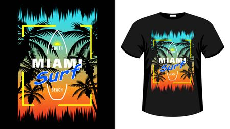 Symbol Miami surf print t-shirt. The slogan on the backdrop of palm trees and sunset. Beautiful vector illustration Illustration