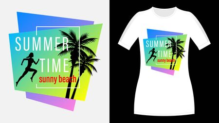 Summer time, Sunny beach print t-shirt. The slogan on the backdrop of palm trees and sunset. Running woman profile view. Beautiful vector illustration