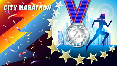 City Marathon silver medal for 1st place banner, poster. Silhouette of a running woman, against a city of skyscrapers. Falling confetti. Realistic 3d vector illustration Illustration