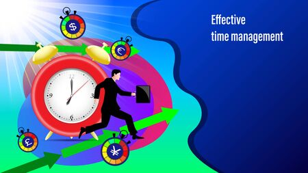 Effective time management banner. Alarm clock, direction arrows, road sign attention, Running businessman with a briefcase in the sunlight. Flat Vector Illustration