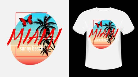Miami, Sunny beach print t-shirt. The slogan on the backdrop of palm trees and sunset. Flying butterfly. Beautiful vector illustration