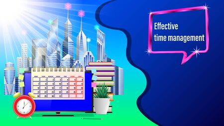 Business workplace, effective time management.City with skyscrapers , Monitor, Alarm clock, calendar, pencil, stickers, houseplant, stack books, sunlight. Front view. Realistic 3d vector illustration