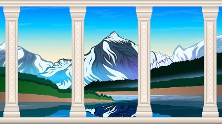 High mountains and calm lake water landscape with forest slopes and snowy peaks. Beautiful marble columns with patterns in the foreground. Natural landscape vector  illustration Ilustração