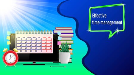 Business workplace, effective time management. Monitor, Alarm clock, calendar, pencil, stickers, houseplant, stack of books, sunlight. Front view. Realistic 3d vector illustration