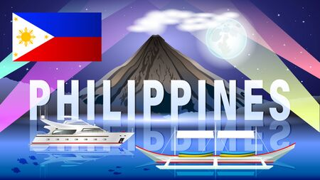 The Philippine tourism landscape. Night composition with beautiful sea views, a volcano, a boats and a full moon. Philippine flag. Horizontal vector illustration. Ilustração