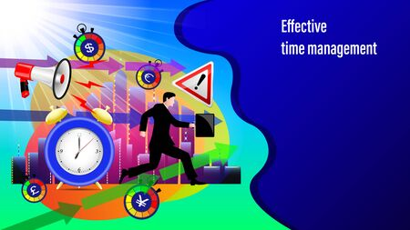 Effective time management banner. Megaphone, alarm clock, direction arrows, road sign attention, Running businessman with a briefcase in the sunlight and City, skyscrapers . Vector Illustration