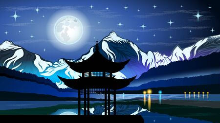 High mountains and calm lake water landscape with forest slopes and snowy peaks. Pagoda at Night on the shore at full moon against the starry sky. Beautiful Eastern landscape vector  illustration