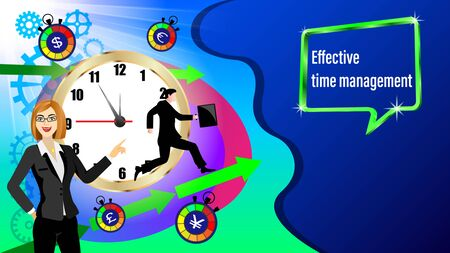 Effective time management banner. Golden clock, direction arrows, gears. Running businessman and with a briefcase in the sunlight. Business woman points hand. Vector Illustration