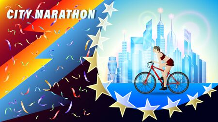 City Bicycle marathon. A woman riding a bike through the city with skyscrapers, side view. beautiful realistic 3D vector illustration Zdjęcie Seryjne - 129284022