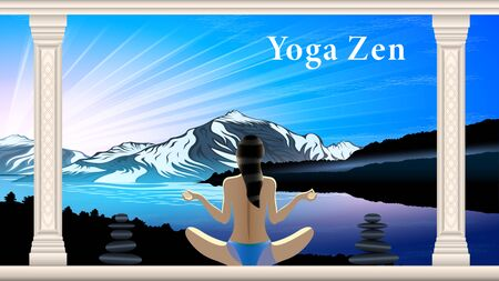 Yoga Zen, morning in the mountains. Woman in swimsuit in Lotus position, rear view. Marble columns with patterns. Beautiful mountain landscape. Realistic horizontal homepage banner vector.