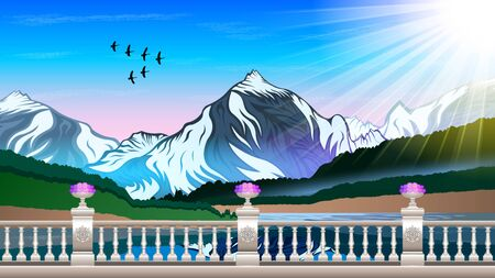 High mountains and calm river water landscape with forest slopes and snowy peaks. Marble stone railing, with patterns and flower beds. Beautiful natural landscape vector  illustration