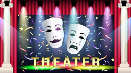Theater scene and masks, comedy and tragedy, in the light colored spotlights, falling confetti, red curtain, marble columns. Realistic 3d vector illustration