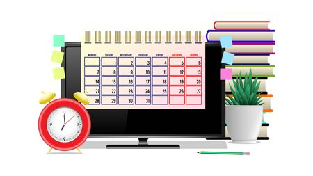 Business workplace. Monitor, Alarm clock, calendar, pencil, stickers, houseplant, stack of books isolated on a white background. Front view. Realistic 3d vector illustration Illustration