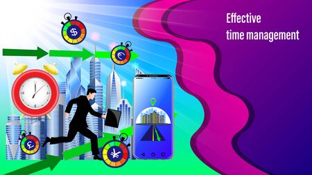 Effective time management banner. Alarm clock, Smartphone with navigation, direction arrows.  Running businessman with briefcase in the sunlight and City, skyscrapers. Realistic 3d Vector Illustration