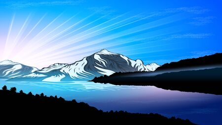 Sunrise, High mountains and calm river water landscape with forest slopes and snowy peaks. Beautiful natural landscape vector  illustration Ilustração