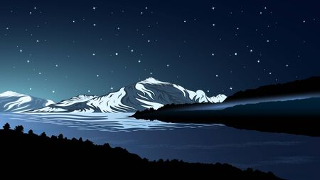 High mountains and calm river water landscape with forest slopes and snowy peaks at Night. Starry sky. Beautiful landscape realistic vector  illustration Ilustração