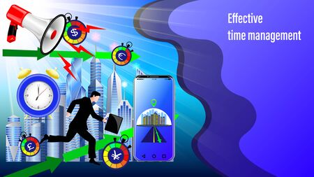 Effective time management banner. Megaphone, Alarm clock, Smartphone with navigation, direction arrows.  Running businessman in the sunlight and City, skyscrapers. Realistic 3d Vector Illustration