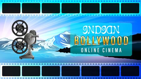 Indian Bollywood Online Cinema. Film footage. Old movie projector, side view. Beautiful mountain landscape, snowy peaks, quiet river, Sunny dawn. Realistic horizontal homepage banner vector.