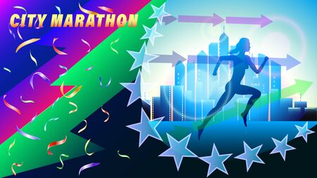 City Marathon banner, poster. Silhouette of a running woman in falling confetti, against a city of skyscrapers. Realistic 3d vector illustration