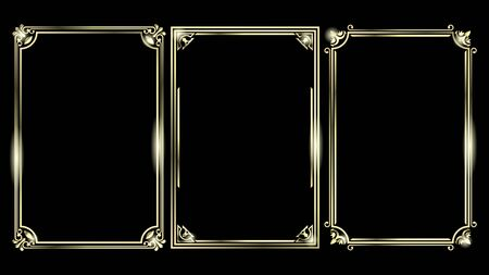 Set Golden Frames isolated on a black background, A4 format. Vector Illustration Illustration
