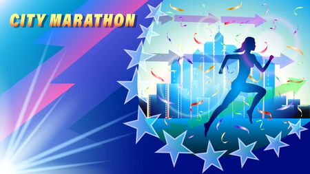 City Marathon banner, poster. Silhouette of a running woman in falling confetti, against a city of skyscrapers. Megaphone and direction arrows. Realistic 3d vector illustration