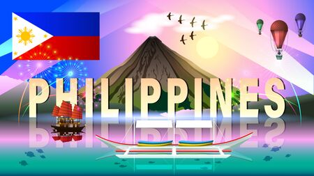 The Philippine tourism landscape. evening composition with beautiful sea views, a volcano, aerostats, a boats and a sunset. Philippine flag. Horizontal vector illustration.